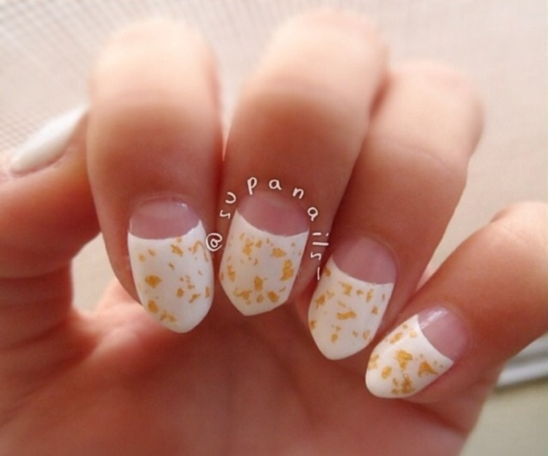 Half Moon White Tip Nails And Gold Dots Design