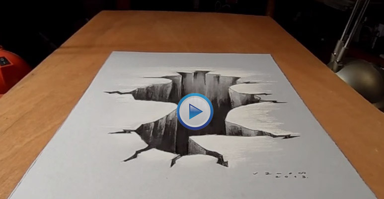 How to draw 3d hole painting