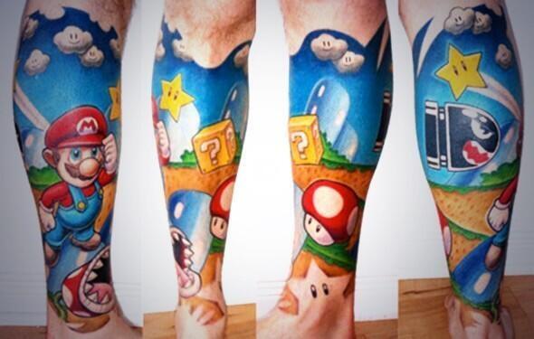 Impressive Mario Tattoo On Leg