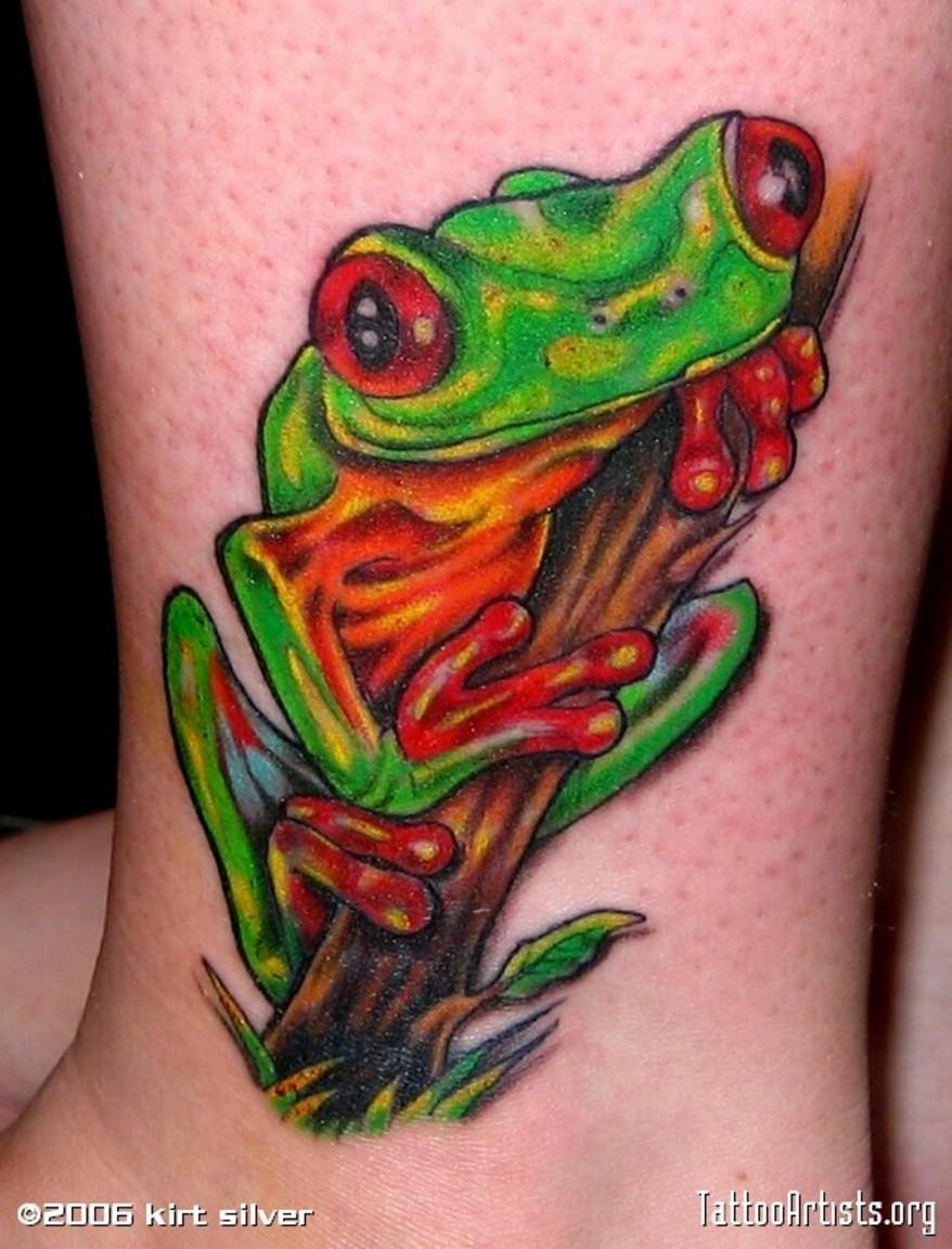 impressive tree frog tattoo on ankle. Black Bedroom Furniture Sets. Home Design Ideas