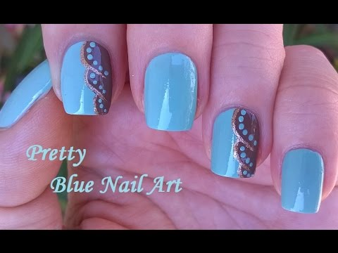 Light Blue And Brown Nail Art With Tutorial Video