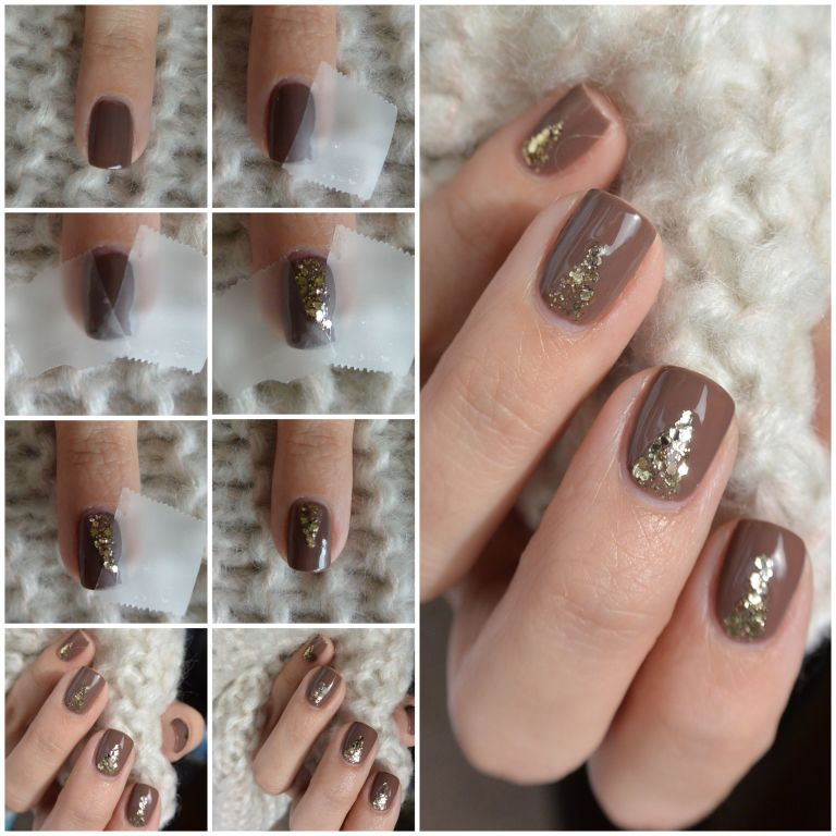 50 most beautiful brown nail art ideas light brown nails with gold glitter design nail art idea prinsesfo Choice Image