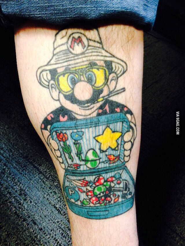 Sonic Vs Mario Tattoo On Arm Sleeve