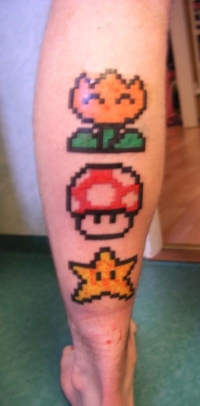 Super Mario Tattoo On Thigh