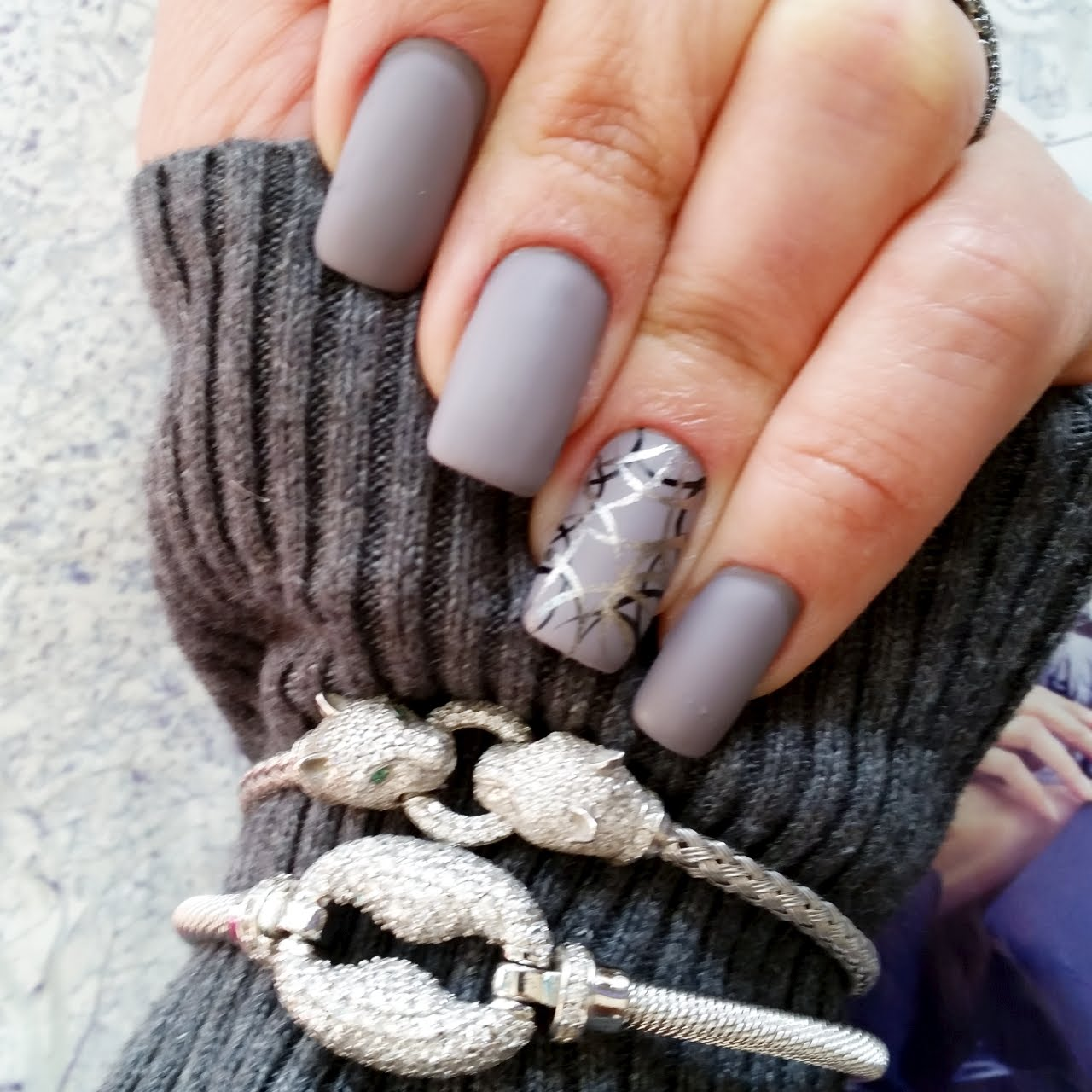 Matte Gray Nail Art With Tutorial Video