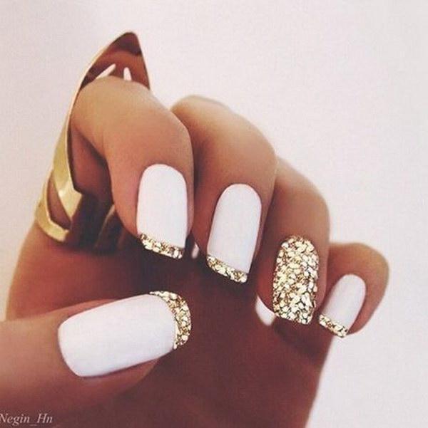Matte White And Gold Glitter Tip Nail Art