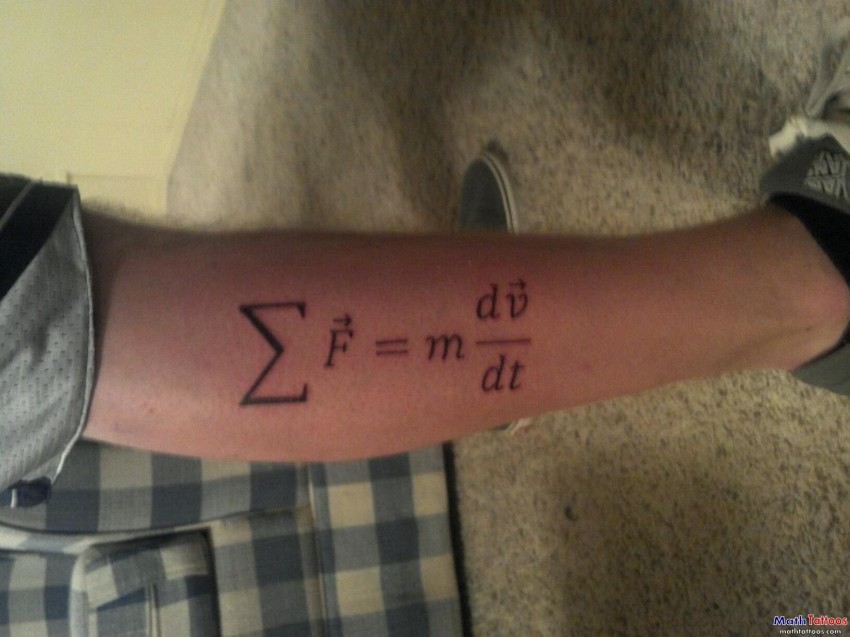 newton second law physics tattoo on leg. Black Bedroom Furniture Sets. Home Design Ideas