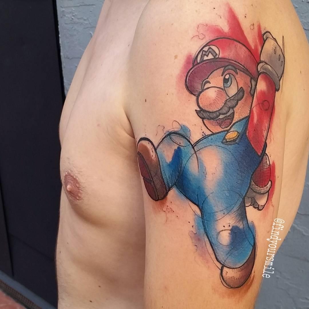 Nice Watercolor Super Mario Tattoo On Shoulder