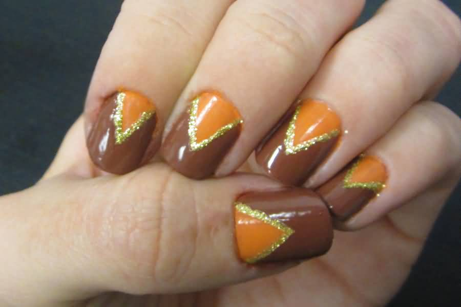 15 Beautiful Brown And Orange Nail Art Ideas