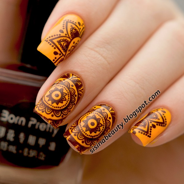 15 beautiful brown and orange nail art ideas orange nails with brown stamping design nail art prinsesfo Image collections