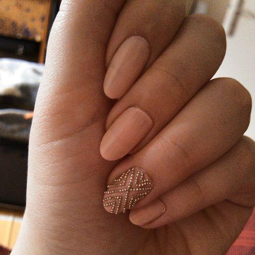 Pink Beige Nails With Caviar Beads Pattern Design Nail Art - 55+ Most Beautiful Beige Nail Art Design Ideas
