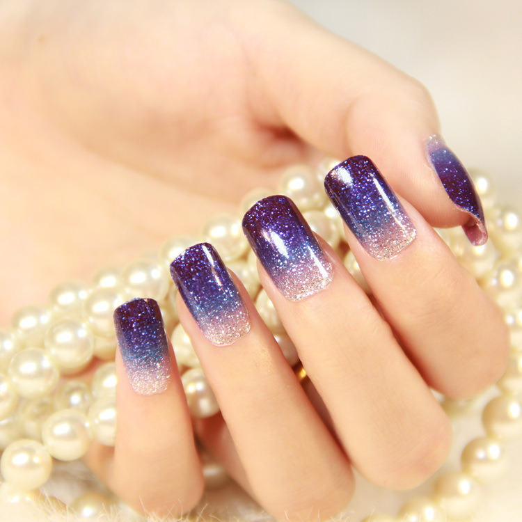 70 most stylish glitter gradient nail art ideas purple glitter gel gradient nail art prinsesfo Gallery