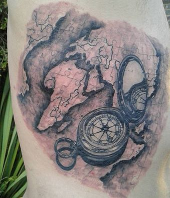 80 fantastic map tattoos puzzle map and compass tattoo by kyle kemp gumiabroncs Images