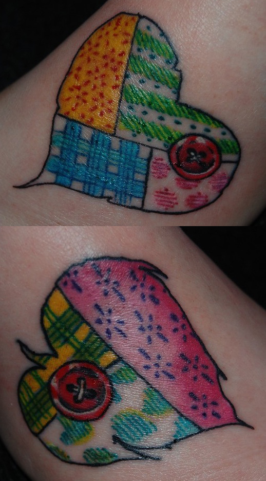 14+ Unique Quilting Tattoos Ideas : quilt heart tattoo - Adamdwight.com