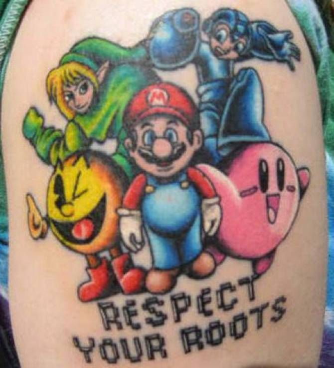 Respect Your Roots Mario Tattoo On Shoulder