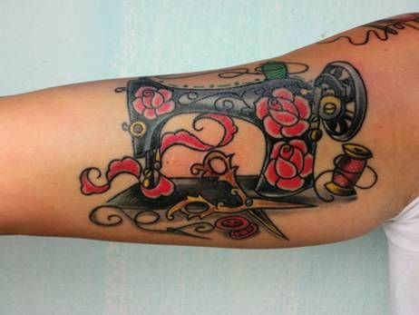 Sewing needle tattoo by mallory for Sewing needle tattoo