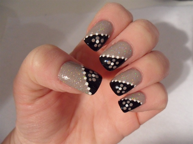 Nail art black and beige beige nails with black design nail art nail art black and beige simple beige and black with floral design nail art prinsesfo Image collections