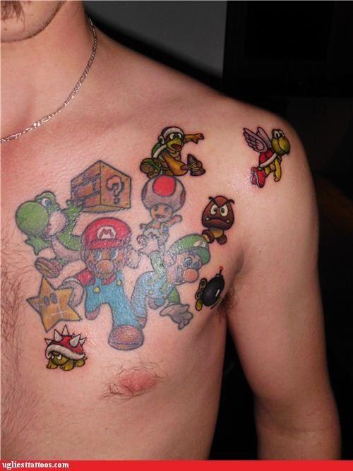 Simple Super Mario Tattoo On Chest For Men