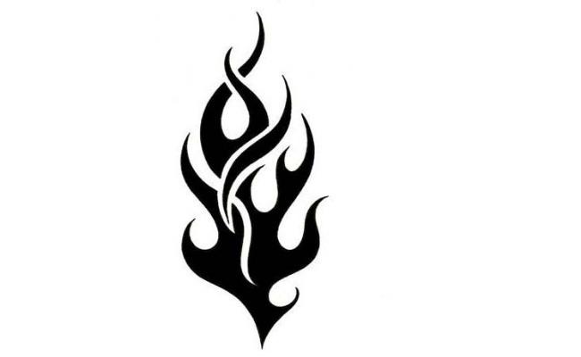 Small Black Tribal Flame Tattoo Stencil