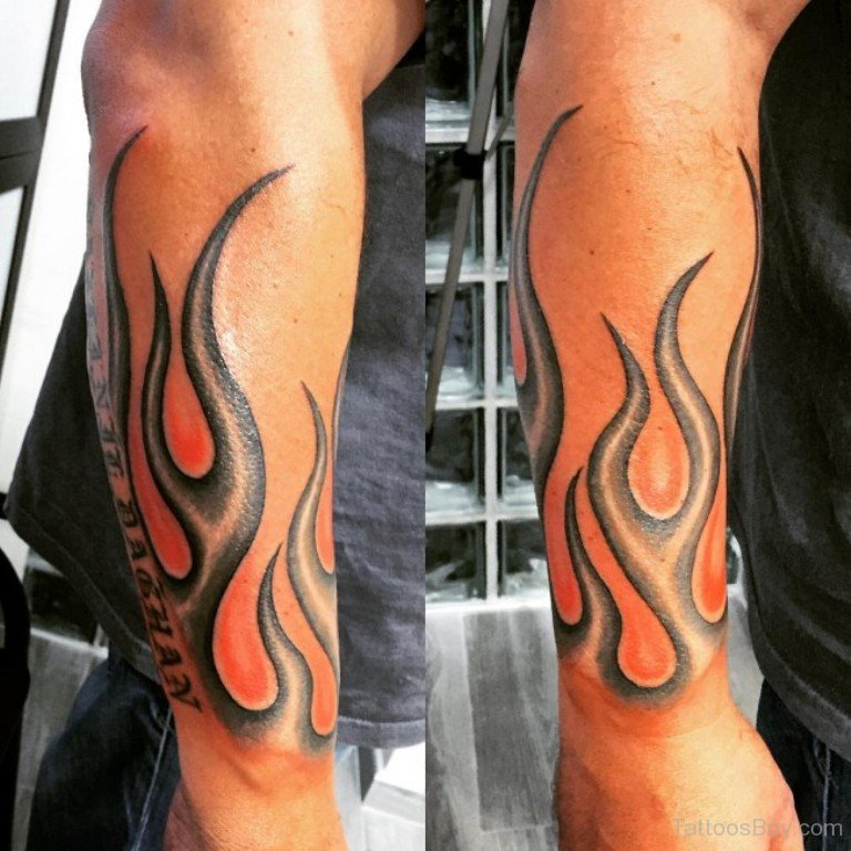 Flame Tattoos Designs Ideas And Meaning: Stylish Flame Tattoo On Arm Sleeve