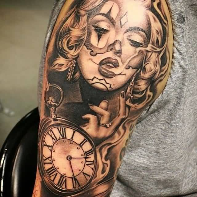 Clock tattoo designs 30 incredible collections slodive for Clock tattoo half sleeve