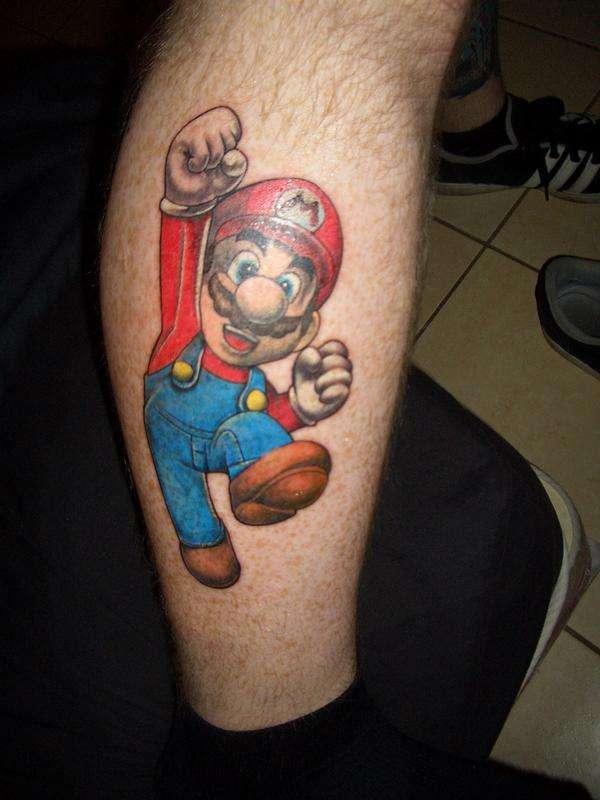 Super Mario Tattoo On Leg