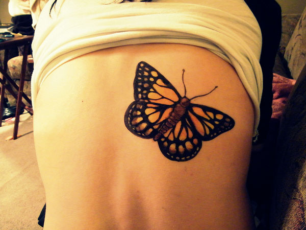 Superb Back Body Monarch Butterfly Tattoo