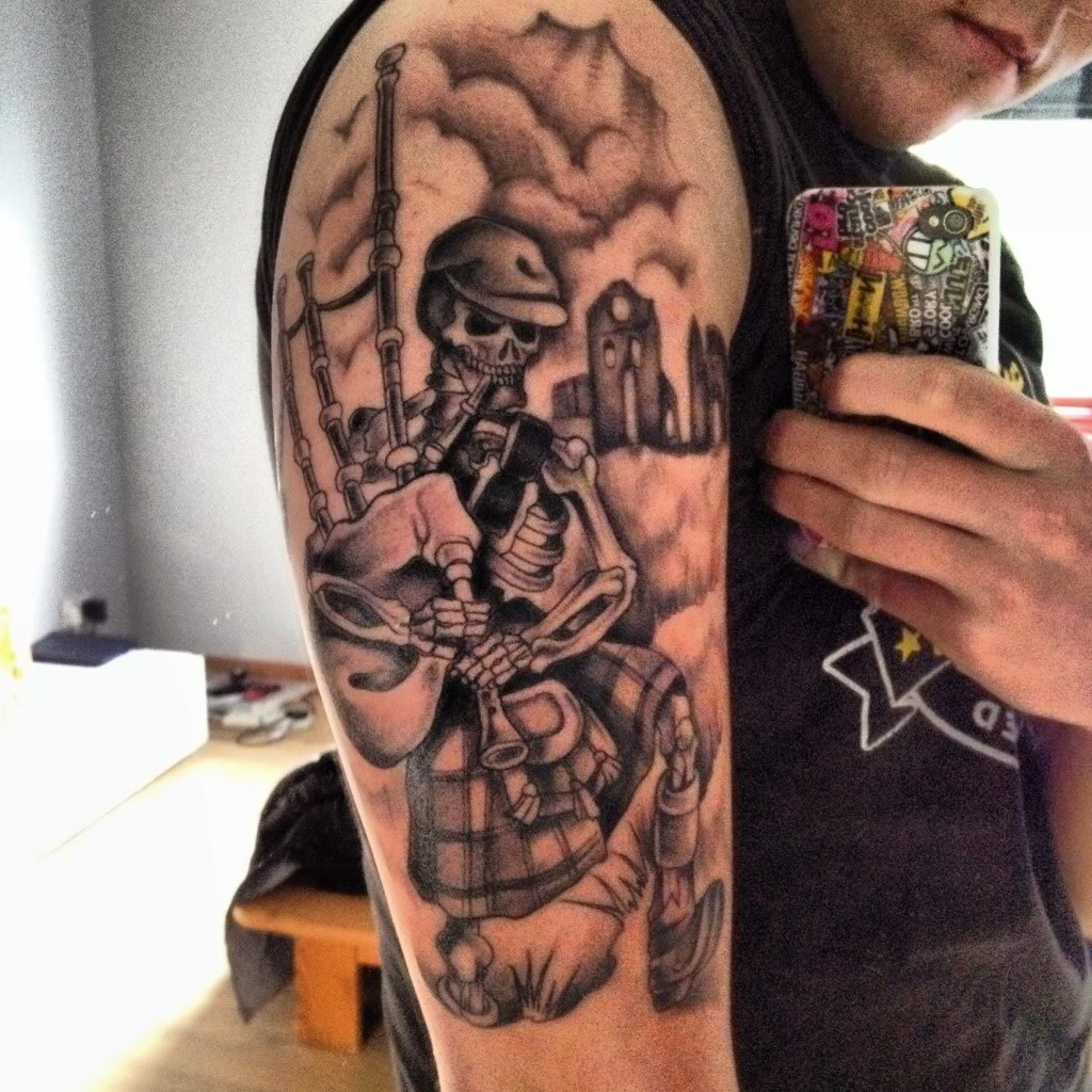 23 Scottish Tattoo Designs Ideas: Terrific Scottish Warrior Tattoo On Forearm