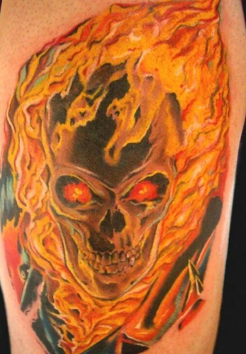 30 flame skull tattoos