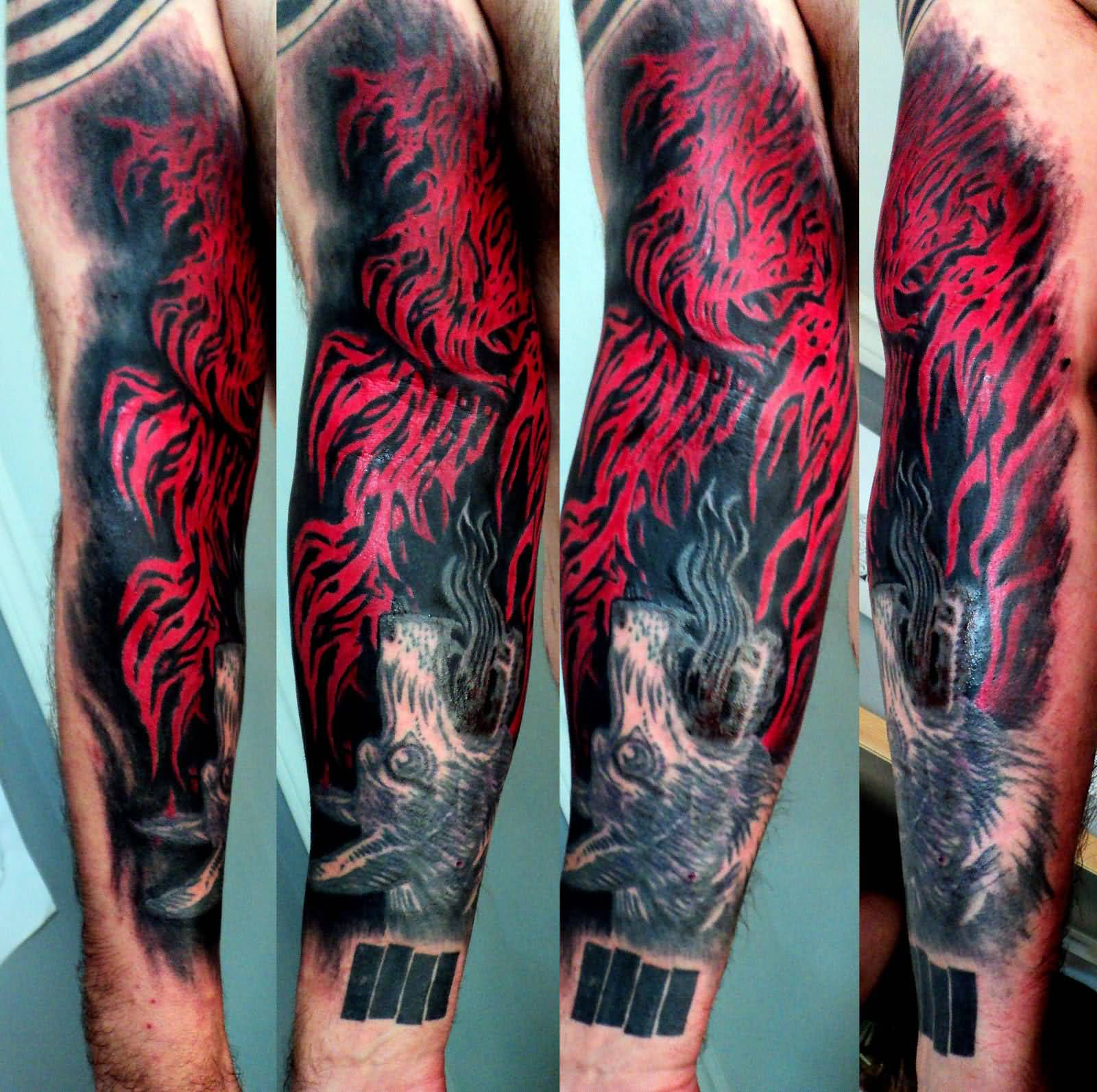 Unique flames tattoo on arm for Unique arm tattoos