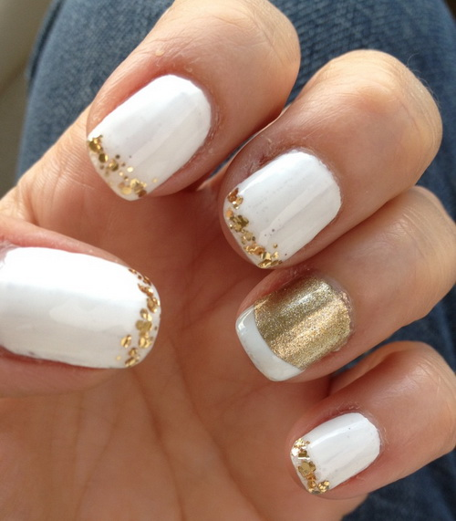 White and gold glitter tip nail art design prinsesfo Choice Image