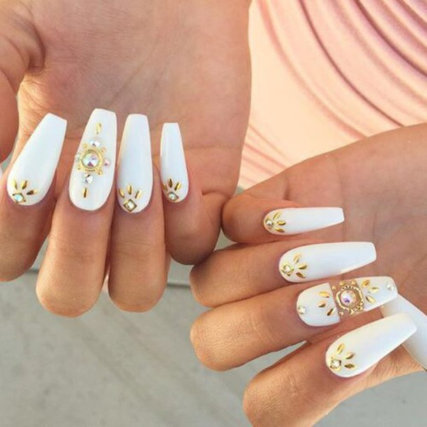 40 classy gold and white nail art design ideas white coffin nails with gold jewels design nail art prinsesfo Choice Image
