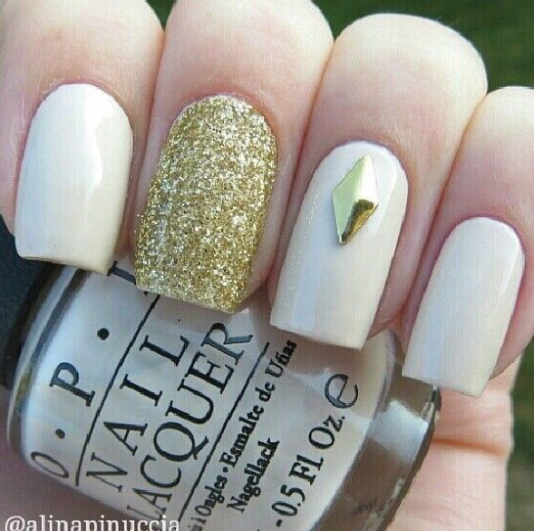 Black and gold nail designs tumblr gallery nail art and nail 55 stylish white and gold nail art design ideas white nails with gold glitter and stud prinsesfo Gallery