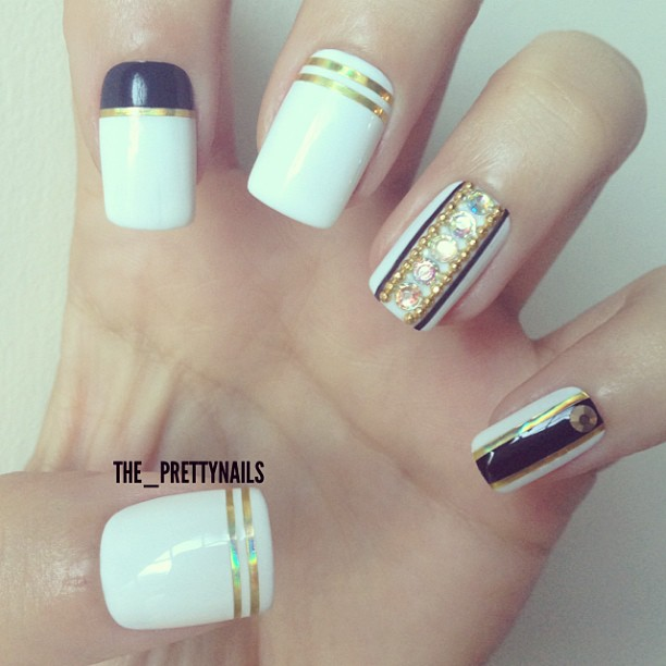 55 stylish white and gold nail art design ideas white nails with gold striping tape nail art design prinsesfo Choice Image