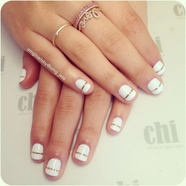 White and gold nail art gallery nail art and nail design ideas 55 stylish white and gold nail art design ideas white short nails with gold strip design prinsesfo Choice Image