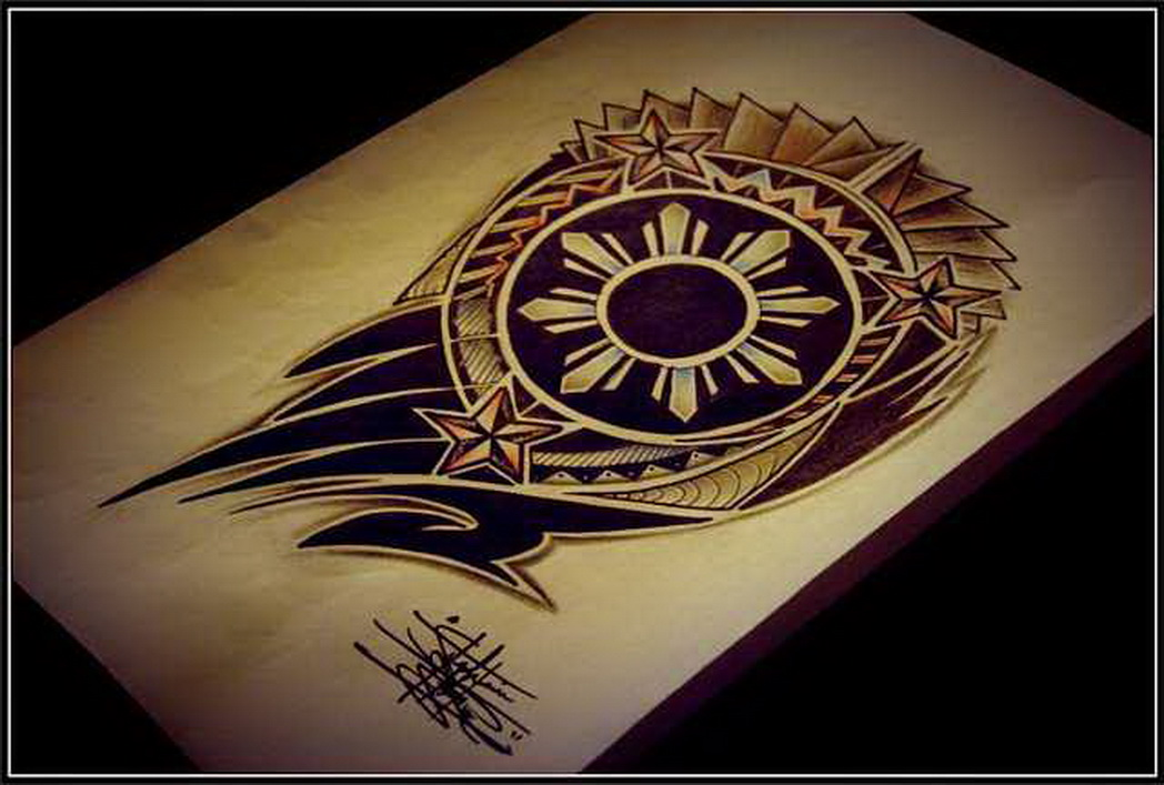 Wonderful filipino tribal sun tattoo design