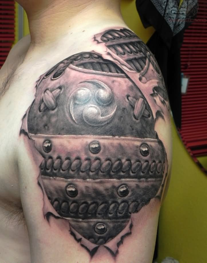 bbab3e363 Celtic 3D Armor Tattoo On Shoulder By ShannonRitchie