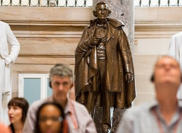 A Bronze Statue Of Confederate President Jefferson Davis Stands At The Statuary Hall Inside The United States Capitol