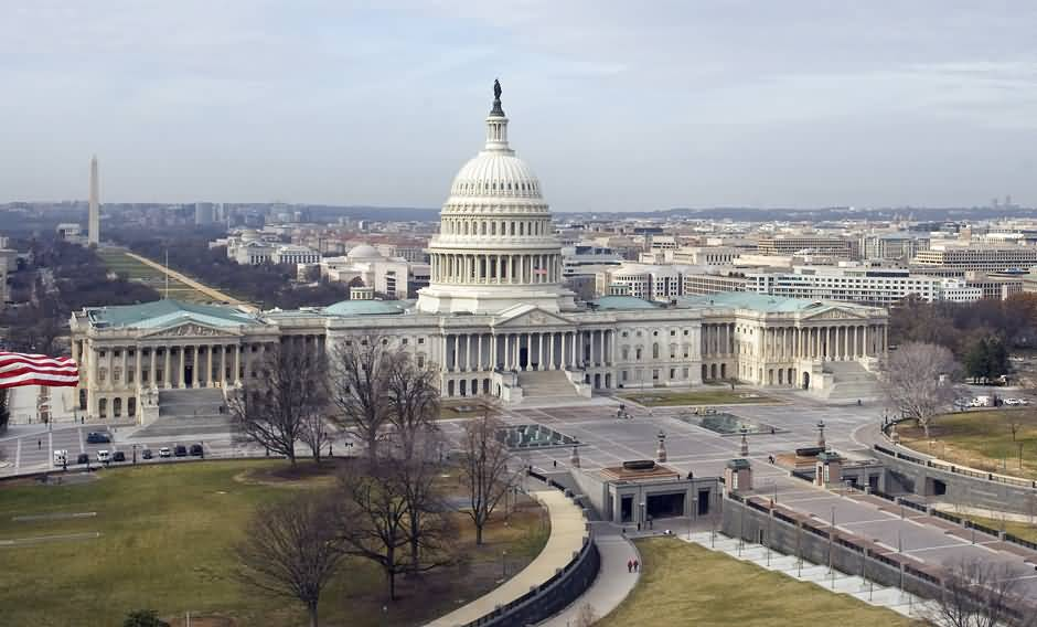 Aerial View Of United States Capitol