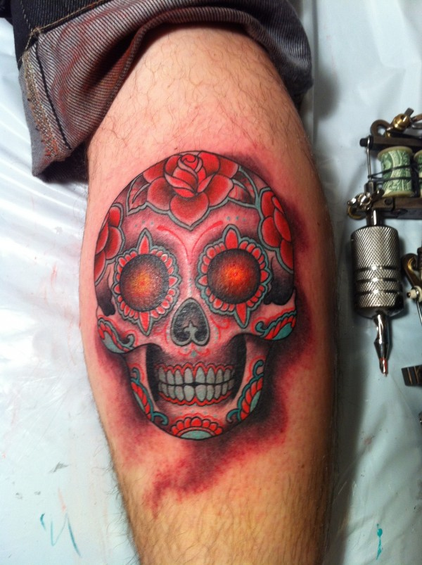 amazing sugar skull ami james tattoo on leg. Black Bedroom Furniture Sets. Home Design Ideas