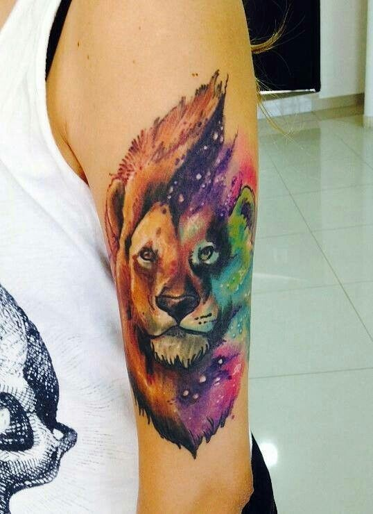 bd85b6c7c Amazing Watercolor Lion In Space Tattoo On Half Sleeve