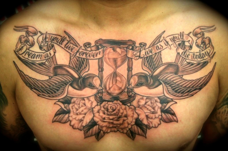 54cf3cfc2f144 Awesome Death Hourglass Tattoo On Chest For Men