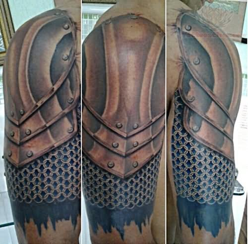 4a92528d8 Awesome Medieval Armor Tattoo On Right Half Sleeve