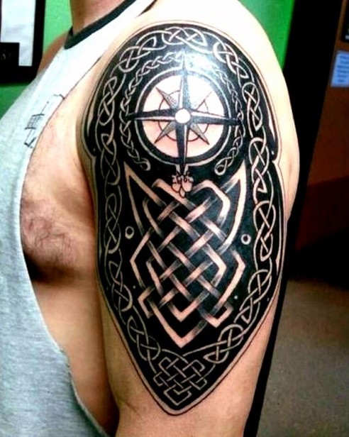 celtic cross armor tattoo on shoulder. Black Bedroom Furniture Sets. Home Design Ideas