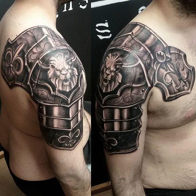 Brilliant Lion Armor Shoulder Tattoo For Men