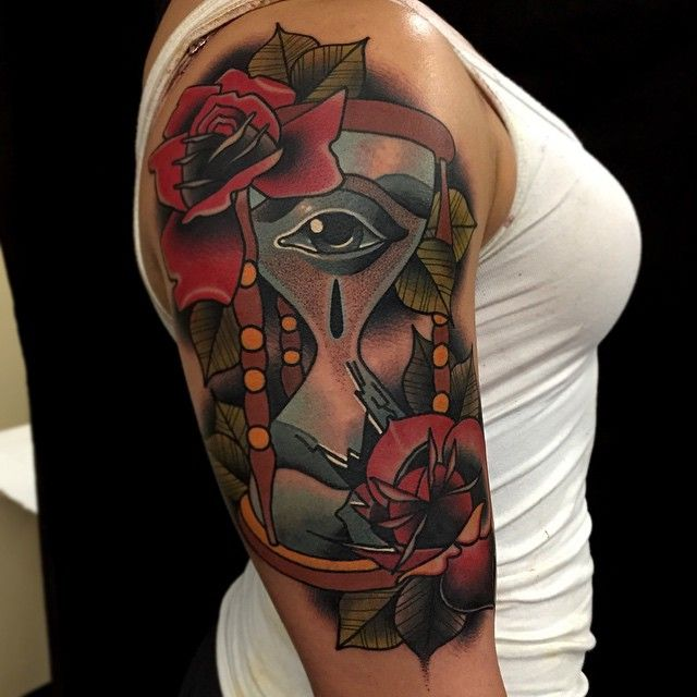 871e4f33d7f88 Broken Hourglass Traditional Tattoo On Right Half Sleeve