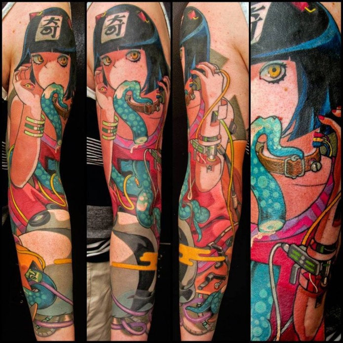 colored anime tattoo on full sleeve by morgan macdonald