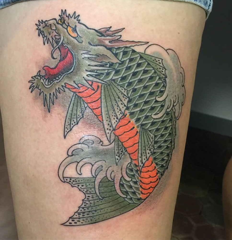 35 ami james tattoos collection for Dragon fish tattoo