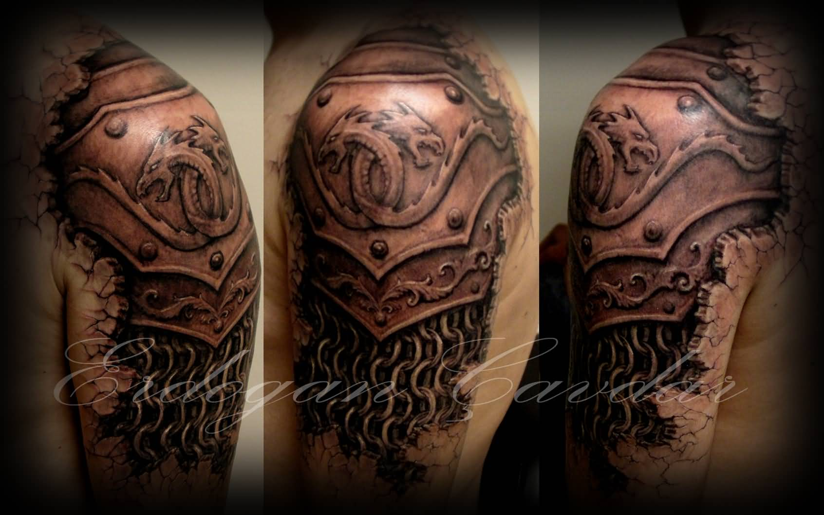 Dragons 3d Armor Tattoo On Shoulder By Erdogancavdar D4h5oyx Collection by rony pacha • last updated 10 weeks ago. dragons 3d armor tattoo on shoulder by
