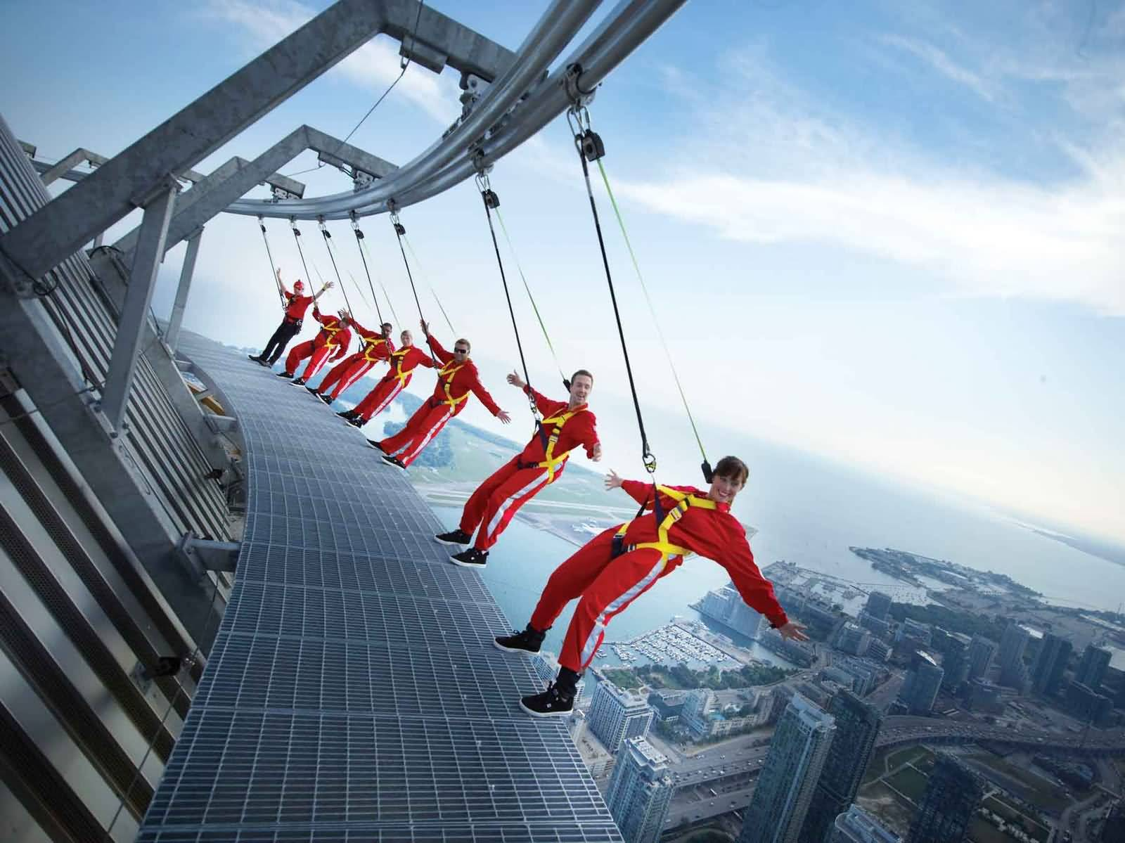 Edge Walk On CN Tower In Ontario, Canada